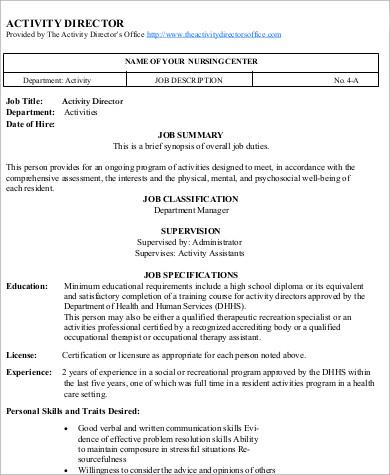 8+ Activity Director Job Description Samples Sample Templates - therapeutic recreation specialist sample resume