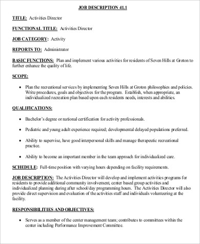 international marketing director job description international activity director job - Activity Director Resume