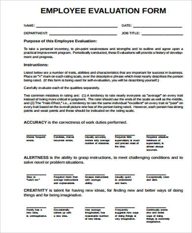 9+ Employee Evaluation Form Sample - Free Sample, Example, Format