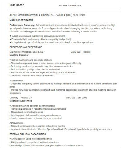 Sample Machine Operator Resume - 6+ Examples in Word, PDF