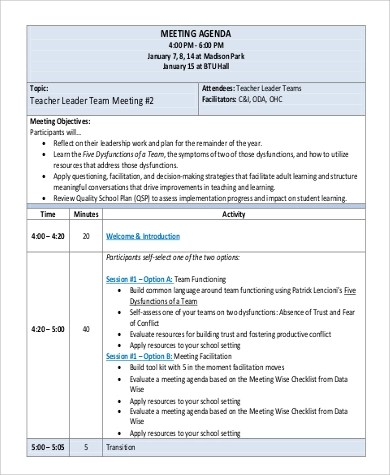 6+ Team Meeting Agenda Sample - Free Sample, Example, Format Download