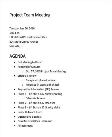 9+ Team Meeting Agenda Samples Sample Templates