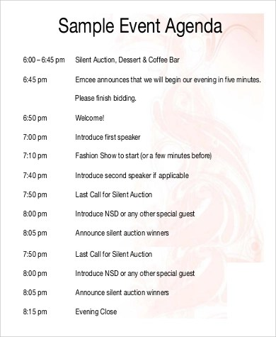 9+ Event Agenda Samples Sample Templates
