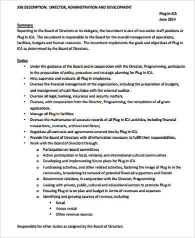 director of development job description tutornowinfo - hr director job description