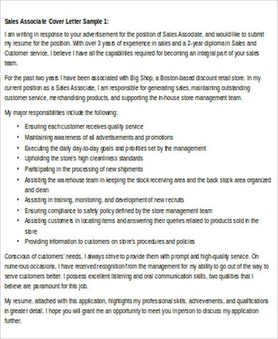 Sample Sales Associate Cover Letter - 8+ Examples in Word, PDF