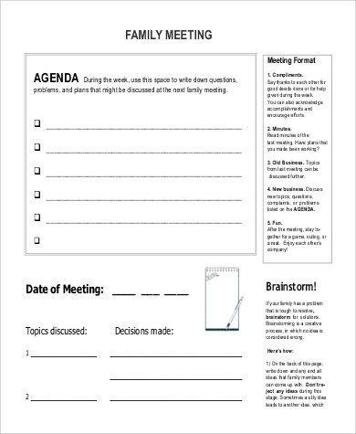 9+ Family Agenda Samples Sample Templates