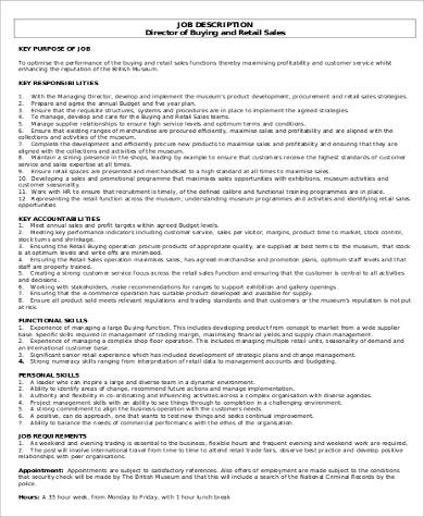 10+ Sales Director Job Description Samples Sample Templates - sales director job description