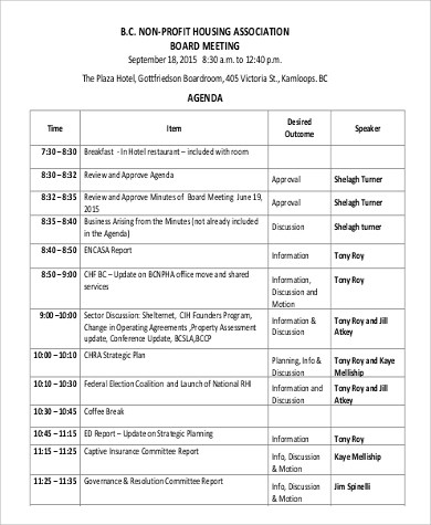 Board Meeting Agenda Sample - 9+ Examples in PDF - agenda for meeting template