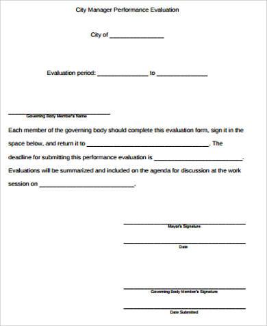 8+ Performance Evaluation Sample - Free Sample, Example, Format - sample manager evaluation