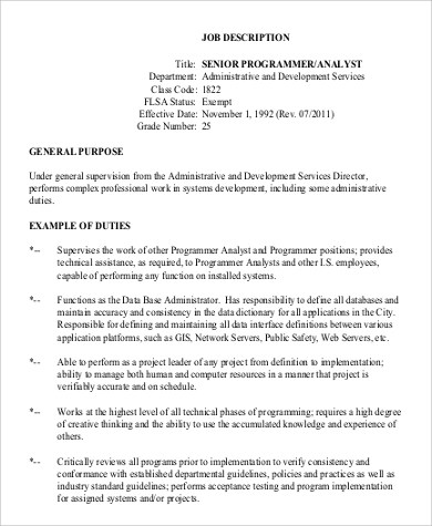 7+ Senior Programmer Job Description Samples Sample Templates - senior programmer job description