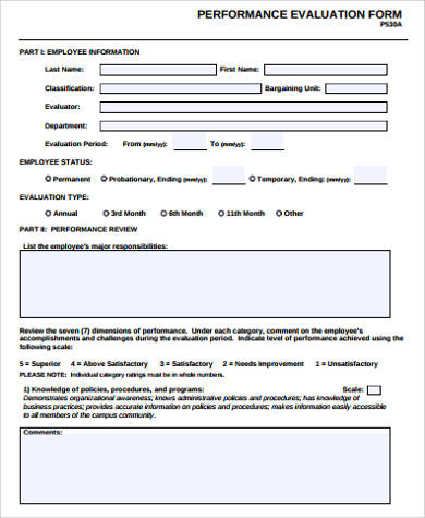 Performance Evaluation Forms Free free download contractor - sample employee evaluation form