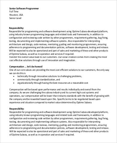 Senior Programmer Job Description Sample - 7+ Examples in PDF - system programmer job description