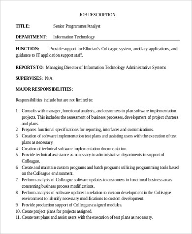 Analyst Job Description data analyst job description 10+ system - senior programmer job description