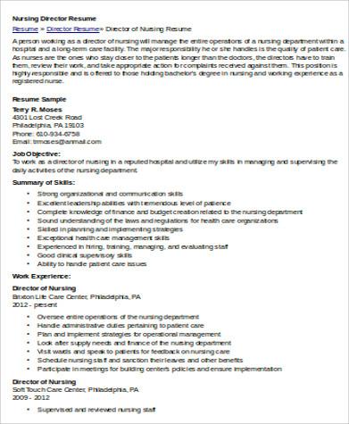 7+ Nursing Resume Objective Samples Sample Templates - director of nursing resume