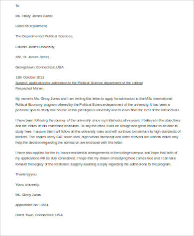 11+ Application Letter Examples Sample Templates