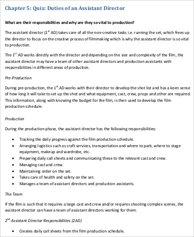 Film Director Job Description Sample - 7+ Examples in PDF - it director job description