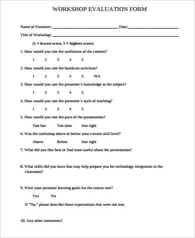 9+ Workshop Evaluation Form Samples Sample Templates