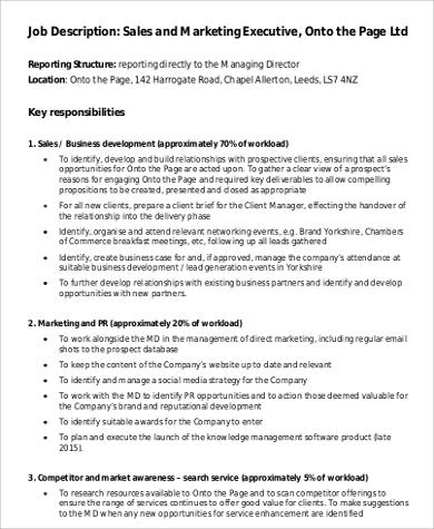 Marketing Executive Job Description Sales Director Job Description