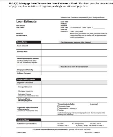 6+ Sample Loan Estimate Forms Sample Templates - Loan Estimate Form