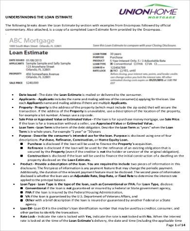 Sample Loan Estimate Form - 6+ Examples in PDF