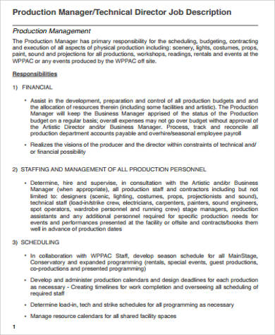 ... Sample Business Manager Job Description Director Of Business   Production  Manager Resume ...