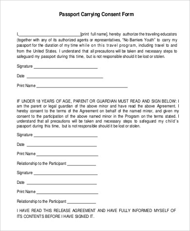 Passport Consent Form Sample - 5+ Examples in PDF - passport consent forms