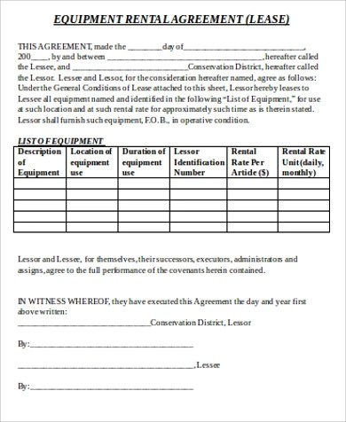 Sample Equipment Lease Agreement - 9+ Examples in Word, PDF - equipment rental agreement sample