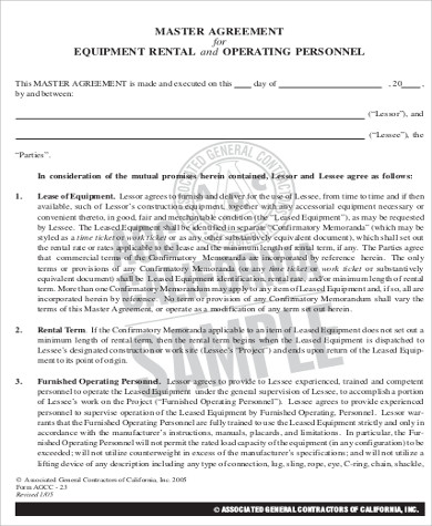 Sample Equipment Lease Agreement - 9+ Examples in Word, PDF - sample equipment rental agreement