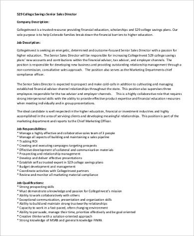 9+ Senior Director Job Description Samples Sample Templates - sales director job description