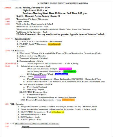 9+ Business Meeting Agenda Samples Sample Templates