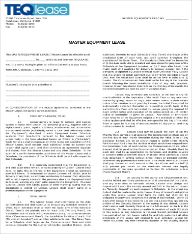 Sample Equipment Lease Agreement - 9+ Examples in Word, PDF - master lease agreement