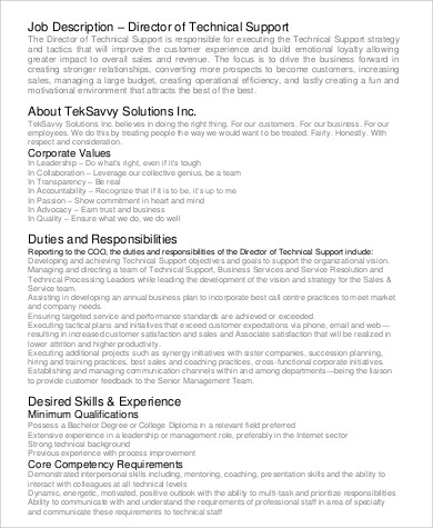 Technical Director Job Description  NodeCvresumePaasproviderCom