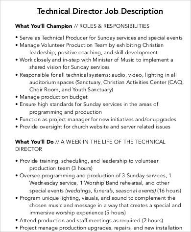 Technical Director Job Description Sample - 9+ Examples in Word, PDF - technical director job description