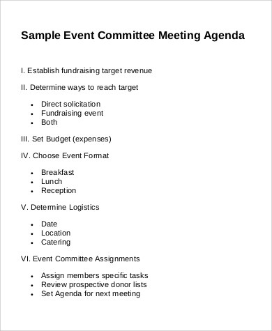 how to write an agenda for a committee meeting - Alan