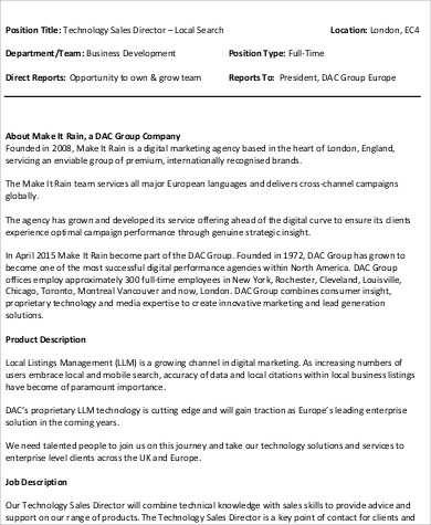 Technical Director Job Description Sample - 9+ Examples in Word, PDF - it director job description