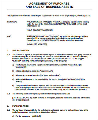 Business Purchase Agreement Sample - 7+ Free Sample, Example, Format