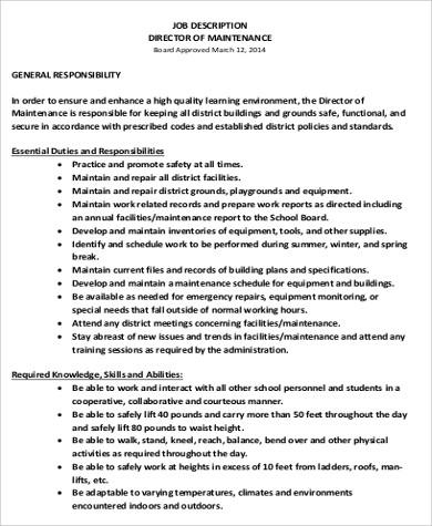 ... Maintenance Job Description Roles And Responsibilities Of First   Maintenance  Job Description Maintenance Manager ... Ideas