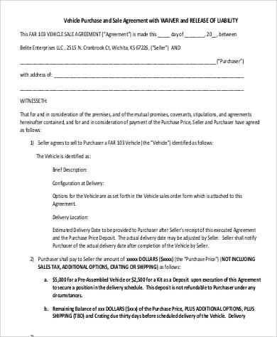 Vehicle Purchase Agreement Sample - 9+ Examples in Word, PDF - private car sale contract payments
