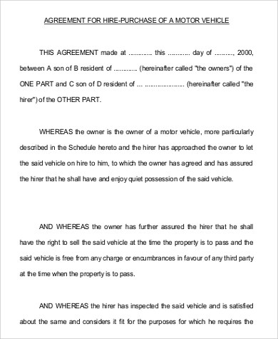 Vehicle Purchase Agreement Sample - 12+ Examples in Word, PDF