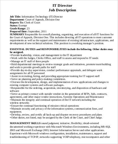 6+ IT Director Job Description Samples Sample Templates