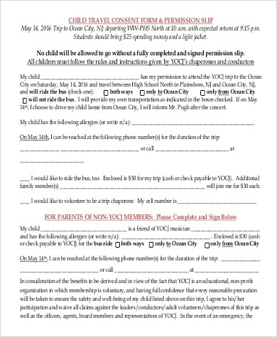 Travel Consent Form Sample - 9+ Examples in Word, PDF - free child travel consent form template