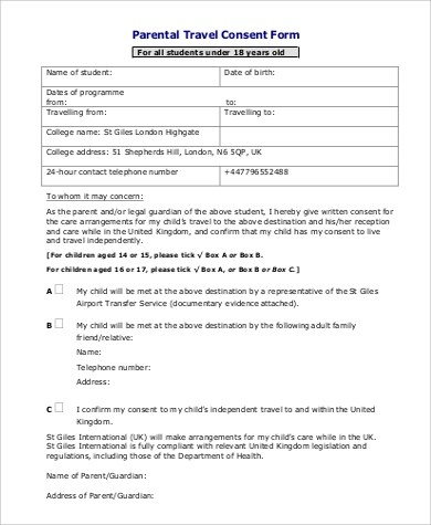 Travel Consent Form Sample - 9+ Examples in Word, PDF - parental consent to travel form