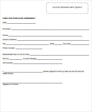 11+ Sample Car Purchase Agreements Sample Templates - auto purchase agreement form