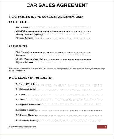 Sample Car Purchase Agreement - 12+ Examples in Word, PDF