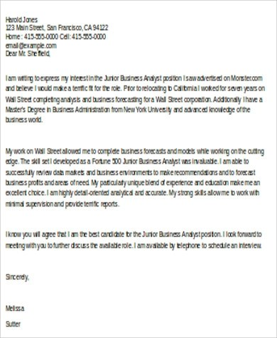 8+ Sample Business Analyst Cover Letters Sample Templates - business analyst cover letter