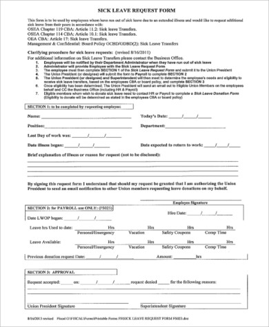 8+ Sample Leave Request Forms Sample Templates - leave request form sample