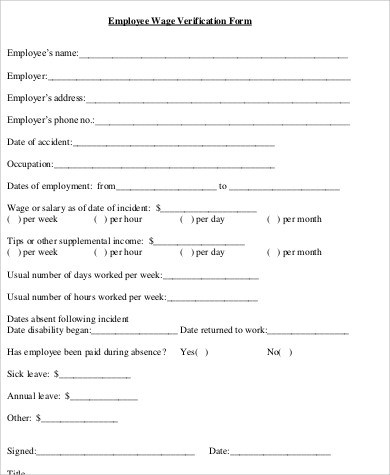 Sample Employee Verification Form - 9+ Examples in Word, PDF - employment verification form