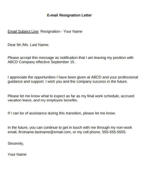 8+ Email Resignation Letter Samples Sample Templates - immediate resignation letter sample