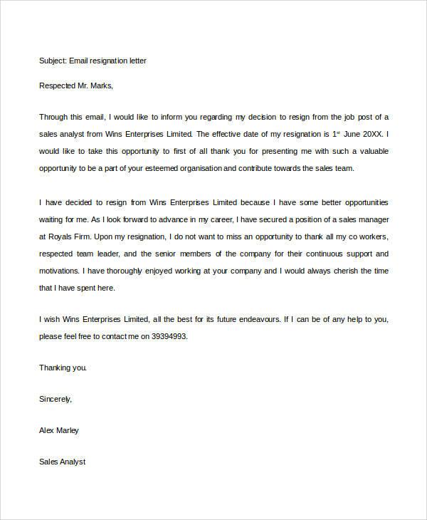 8+ Email Resignation Letter Samples Sample Templates - resignation letter email
