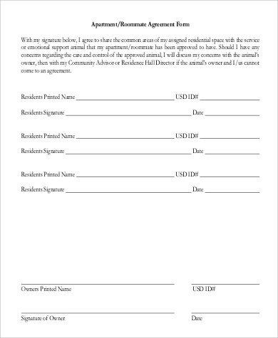 Sample Roommate Agreement Form - 9+ Examples in Word, PDF - roommate agreement form